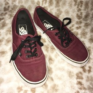 Vans Unisex Red Maroon Lace Up Sneaker Shoes